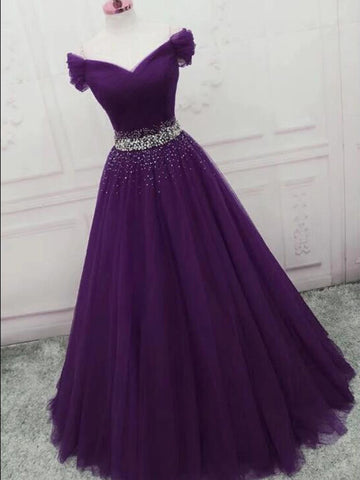 Charming Off Shoulder Dark Purple Tulle Long Prom Dresses with Sequins, Dark Purple Formal Graduation Evening Dresses