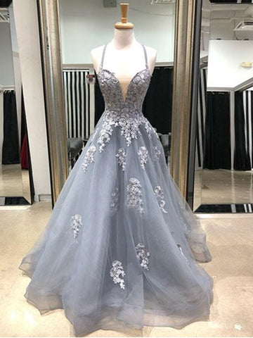 Charming V Neck Gray Lace Long Prom Dresses, Grey Lace Formal Evening Dresses