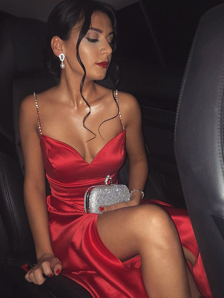 Charming A Line Sweetheart Spaghetti Straps Satin Red Long Prom Dresses with Side Split, Red Formal Dresses, Evening Dresses