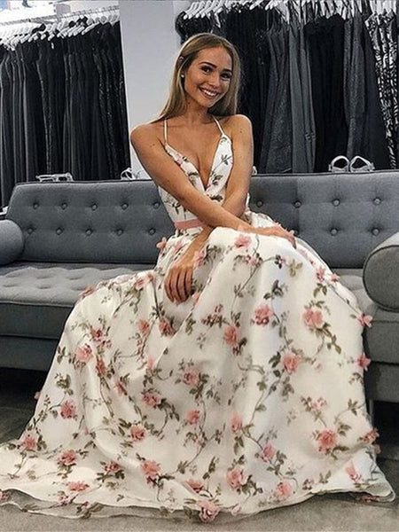 Charming A Line V Neck Backless 3D Flower Long Prom Dresses with Appliques, V Neck Graduation Dresses, Evening Dresses