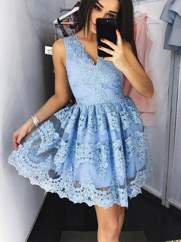 Charming Light Blue Lace Prom Dresses, Light Blue Homecoming Dresses