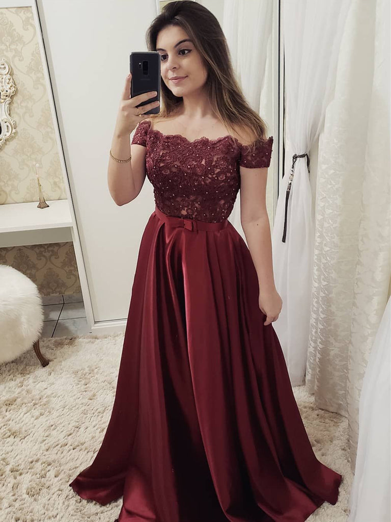 2be8737806d405 Charming Off Shoulder Burgundy Green Blue Lace Long Prom Dresses ...