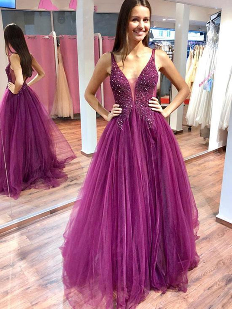 Charming Purple V Neck Beaded Lace Top Long Prom Dresses, Purple Formal Dresses, Evening Dresses