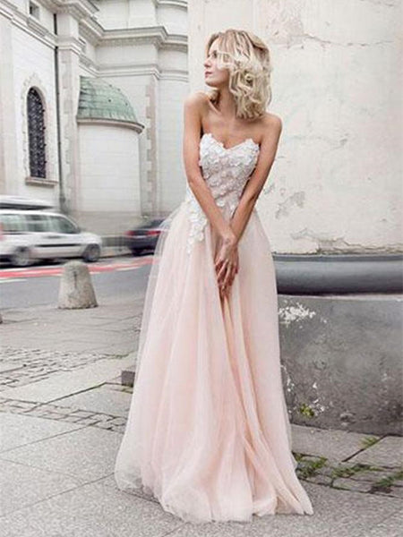 Charming Sweetheart Neck Lace Pink Wedding Dresses With Appliques, Pink Lace Prom Dresses