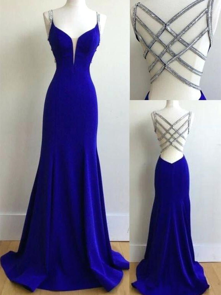 Charming V Neck Mermaid Royal Blue Long Prom Dresses, Royal Blue Formal Dresses, Evening Dresses