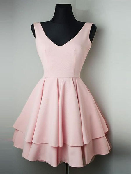 Cheap Simple V Neck Pink Homecoming Dresses Short Prom Dresses Online, Cute Pink Graduation Dresses, Formal Dresses, Evening Dresses