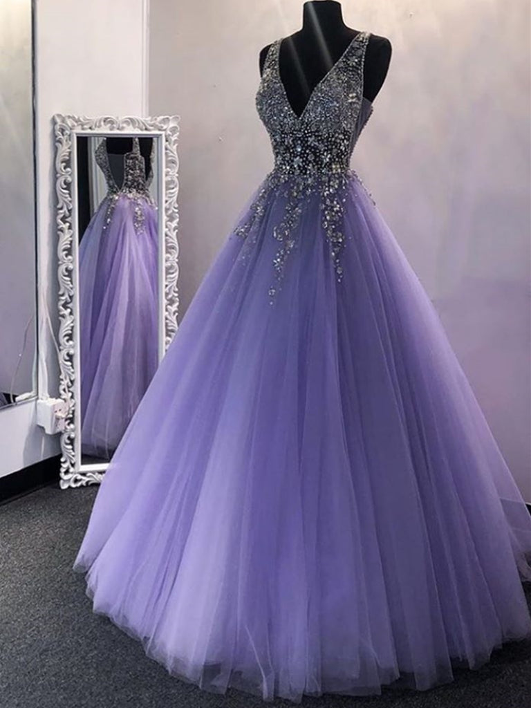 Chic V Neck Sequins Purple Tulle Long Prom Dresses, V Neck Lilac Formal Evening Dresses, Purple Ball Gown