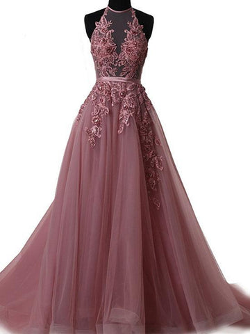 Custom Made A Line Halter Neck Backless Lace Prom Dresses with Sweep Train, Backless Lace Formal Dresses, Evening Dresses