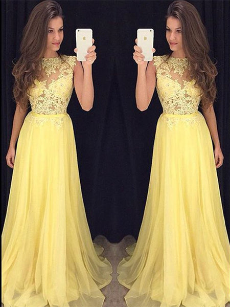 Custom Made A Line Round Neck Lace Yellow Chiffon Long Prom Dresses, Yellow Lace Graduation Dresses, Formal Evening Dresses