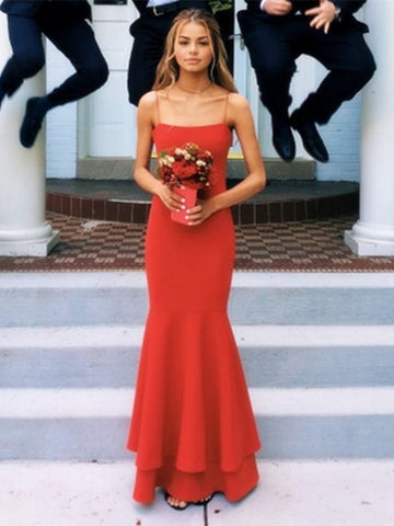 Custom Made A Line Spaghetti Straps Red Mermaid Prom Dresses Party Dresses, Red Thin Straps Formal Dresses