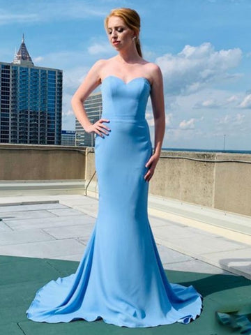 Custom Made A Line Strapless Mermaid Light Blue Long Prom Dresses, Mermaid Light Blue Formal Dresses, Light Blue Evening Dresses