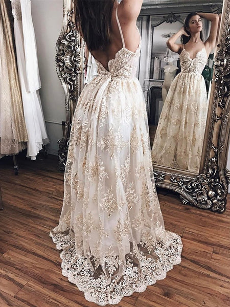 Custom Made A Line V Neck Backless Wedding Dress with Champagne Appliques, Backless Prom Dresses, Graduation Dresses, Formal Dresses