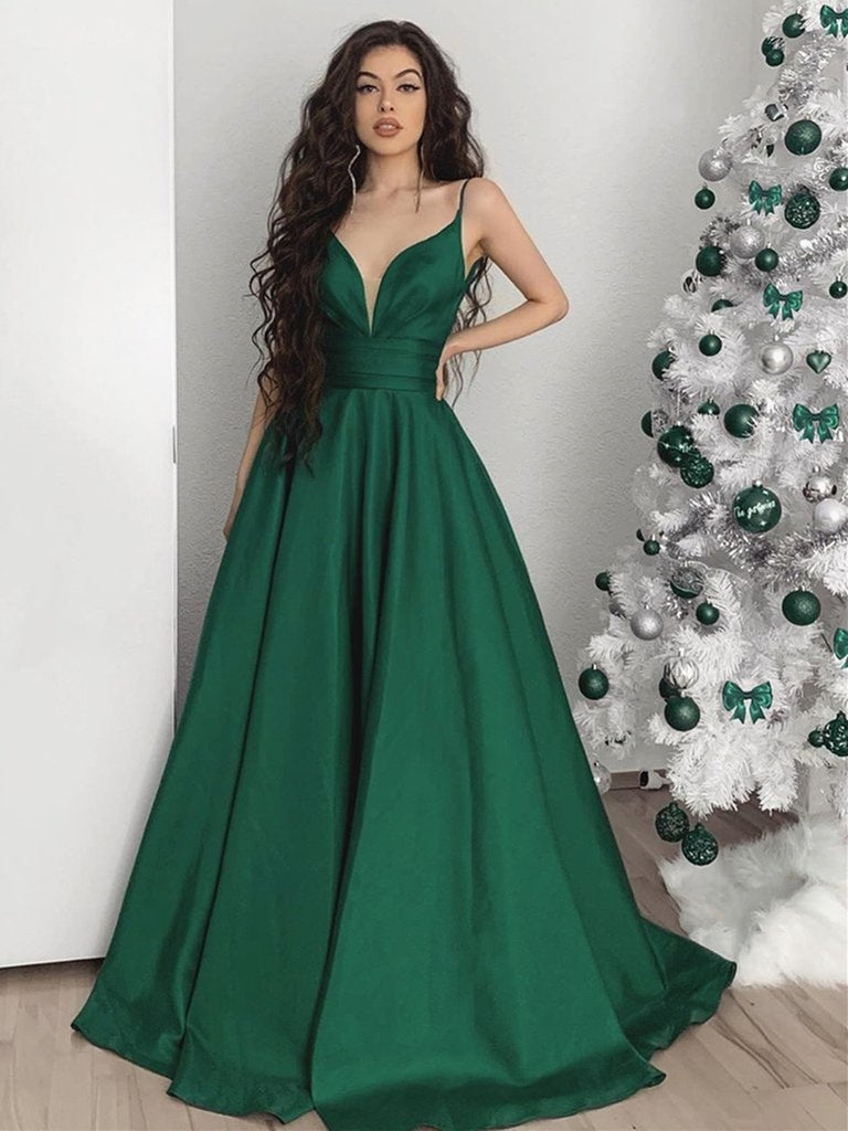 Custom Made A Line V Neck Emerald Green Long Prom Dresses, Green V Neck Long Formal Evening Dresses