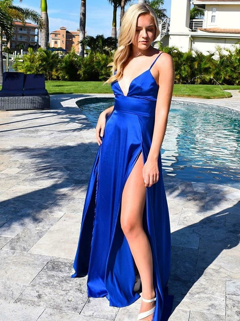 Custom Made A Line V Neck Royal Blue Satin Long Prom Dresses with Doublue Slit, V Neck Royal Blue Formal Dresses, Royal Blue Evening Dresses