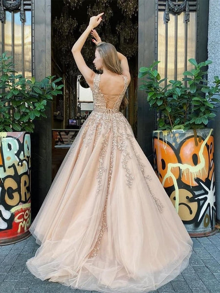 Custom Made Cap Sleeves Champagne Lace Long Prom Dresses, Cap Sleeves Champagne Lace Formal Dresses, Champagne Lace Evening Dresses, Champagne Ball Gown