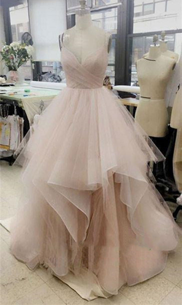 Custom Made Champagne Prom Dress, White Prom Dress, Pink Prom ...