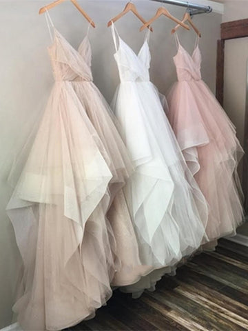 Custom Made Champagne Prom Dress, White Prom Dress, Pink Prom Dress, Champagne\White\Pink Wedding Dress, Champagne\White\Pink Formal Dress