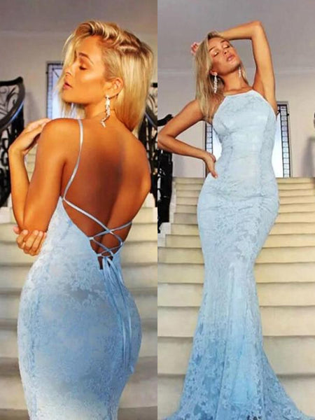 Custom Made Mermaid Backless Lace Light Blue Prom Dresses, Light Blue Mermaid Formal Dresses, Light Blue Lace Evening Dresses
