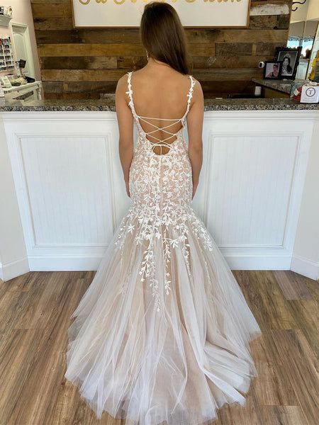 Custom Made Mermaid Lace Champagne Long Prom Dresses, Mermaid Champagne Formal Dresses, Champagne Evening Dresses, Wedding Dresses