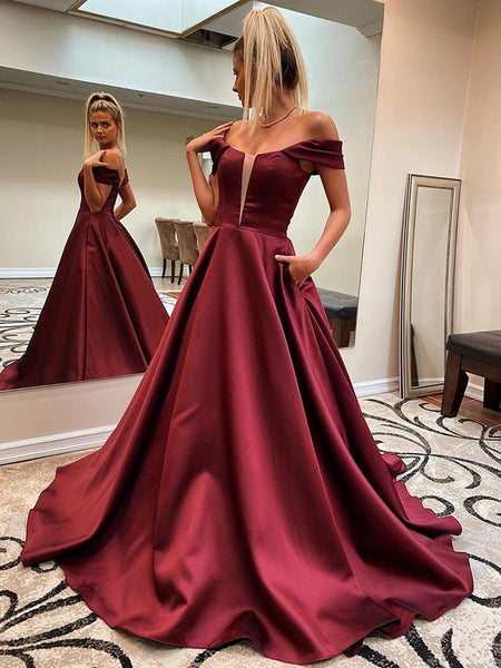 Custom Made Off Shoulder Burgundy Long Prom Dresses with Pocket, Off Shoulder Maroon Formal Dresses, Wine Red Evening Dresses
