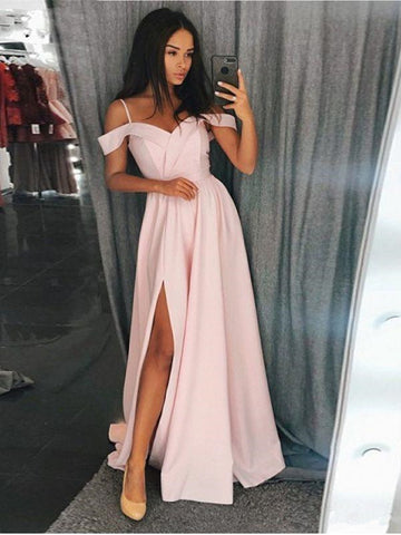 Custom Made Off Shoulder Pink/Gray Prom Dresses, Pink/Gray Formal Dresses with Leg Slit, Graduation Dresses