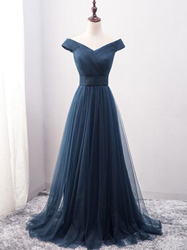 c6ab5df508e Custom Made Off Shoulder Tulle Navy Blue Long Prom Dresses