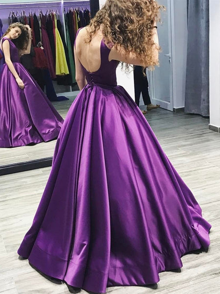 Custom Made Purple Scoop Neck Backless Satin Long Ball Gown Prom Dresses, Pueple Backless Evening Dresses