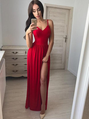 Custom Made Red A Line V Neck Floor Length Long Prom Dresses with Side Leg Slit, Red Long Formal Dresses Evening Dresses, Red Graduation Dresses