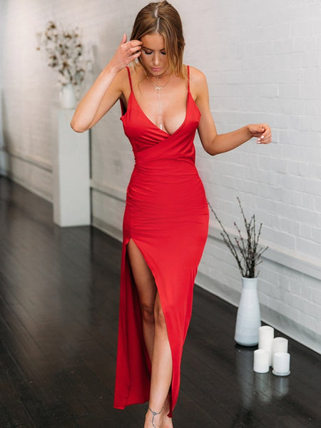 Custom Made Red Mermaid Long Prom Dresses with High Slit, Mermaid Red Formal Dresses, Red Graduation Dresses