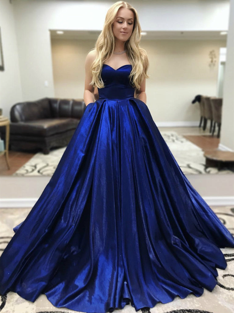 Custom Made Sweetheart Neck Satin Pleats Royal Blue Prom Dresses with Pockets, Royal Blue Formal Dresses, Evening Dresses