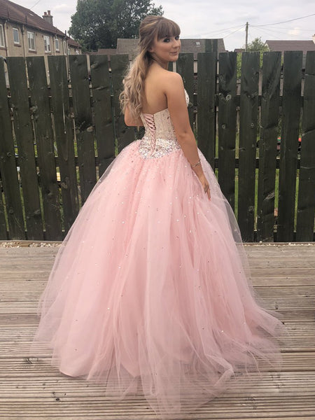 Custom Made Sweetheart Neck Backless Tulle Pink Long Prom Dresses with Beadings, Pink Ball Gown, Pink Formal Dresses