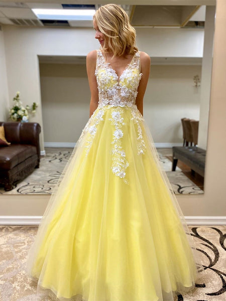 Custom Made V Neck White Lace Appliques Yellow Long Prom Dresses, Yellow Lace Formal Graduation Evening Dresses