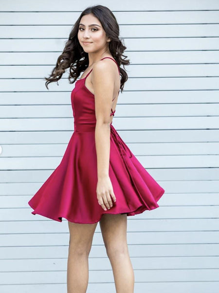 Cute A Line Backless Fuchsia Satin Short Prom Dresses, Backless Fuchsia Formal Graduation Homecoming Dresses