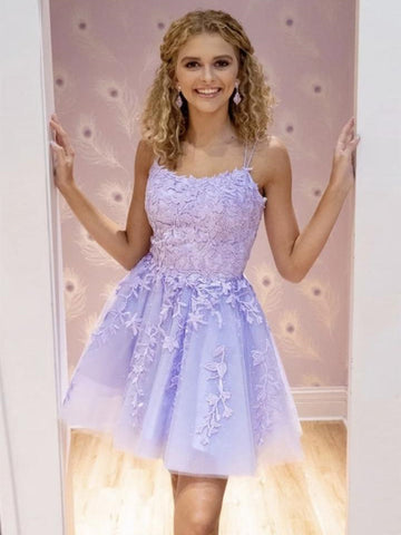 Cute A Line Purple Lace Short Prom Dresses, Short Lilac Lace Formal Graduation Homecoming Dresses