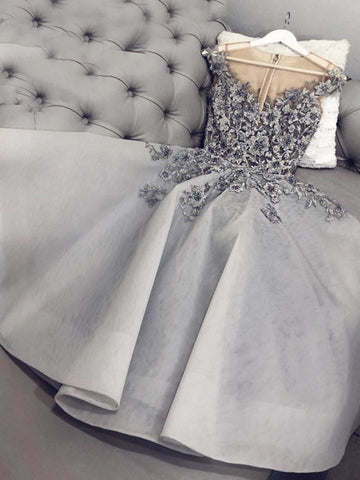 Cute A Line Round Neck Gray Floral Lace Short Prom Dresses, Gray Floral Lace Formal Graduation Homecoming Dresses