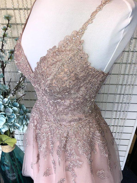 Cute A Line V Neck Backless Short Pink Lace Prom Dresses, Backless Pink Lace Formal Graduation Homecoming Dresses