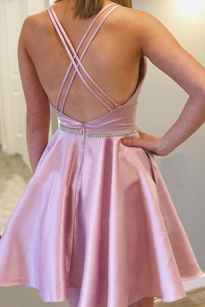 Cute Backless Pink Satin Short Prom Dresses with Pocket, Short Pink Formal Graduation Homecoming Dresses
