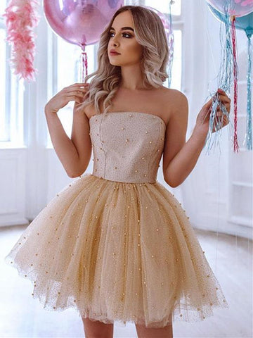 Cute Beaded Champagne Tulle Short Prom Dresses, Champagne Formal Graduation Homecoming Dresses with Beadings