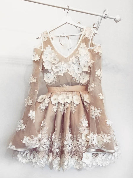 Cute Long Sleeves Short Champagne Floral Prom Dresses, Champagne Floral Formal Graduation Homecoming Dresses
