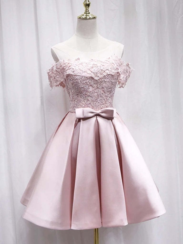 Cute Off Shoulder Pink Lace Short Prom Dresses, Pink Lace Formal Graduation Homecoming Dresses