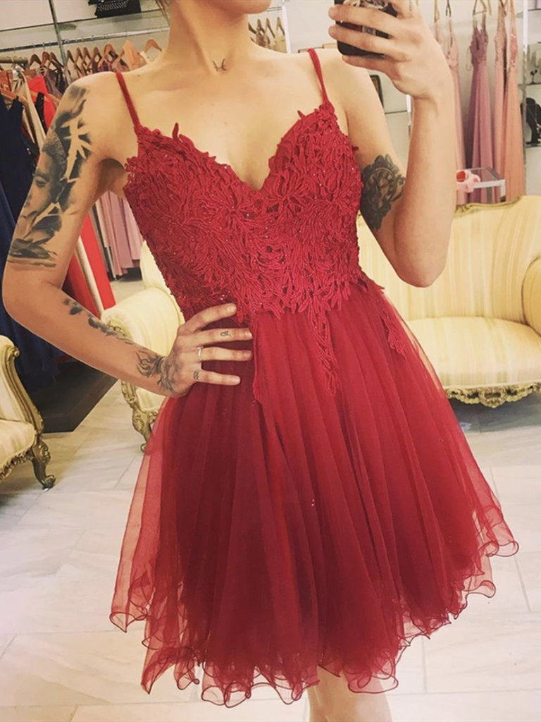 Cute V Neck Dart Red Lace Short Prom Dresses, Dark Red Lace Formal Graduation Homecoming Dresses