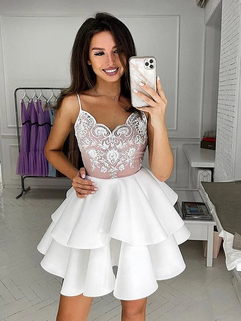 Cute V Neck Layered Short White Lace Prom Dresses, Short White Lace Formal Graduation Homecoming Dresses