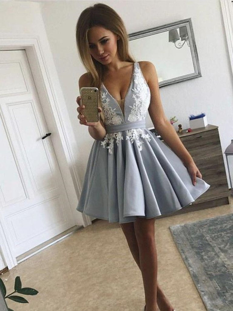 Cute V Neck Open Back Short Gray Lace Prom Dresses, Backless Gray Lace Formal Graduation Homecoming Dresses