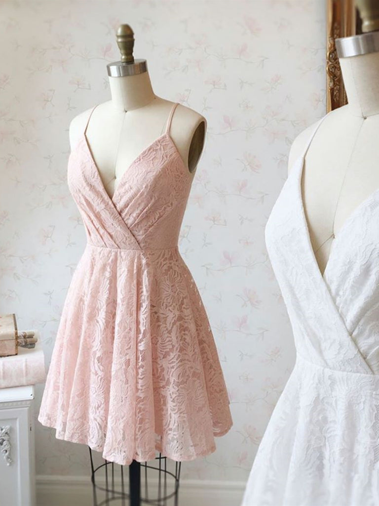 Cute V Neck Pink/White Lace Short Prom Dresses Homecoming Dresses, Pink/White Lace Formal Graduation Evening Dresses, Cocktail Dresses