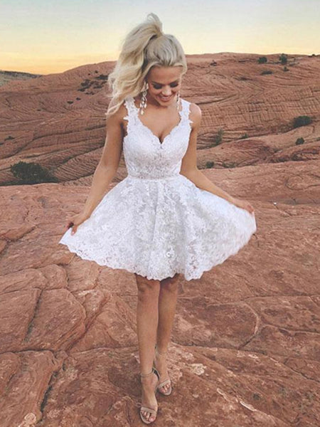 Cute V Neck Short Ivory Lace Prom Dresses, Ivory Lace Formal Graduation Homecoming Dresses