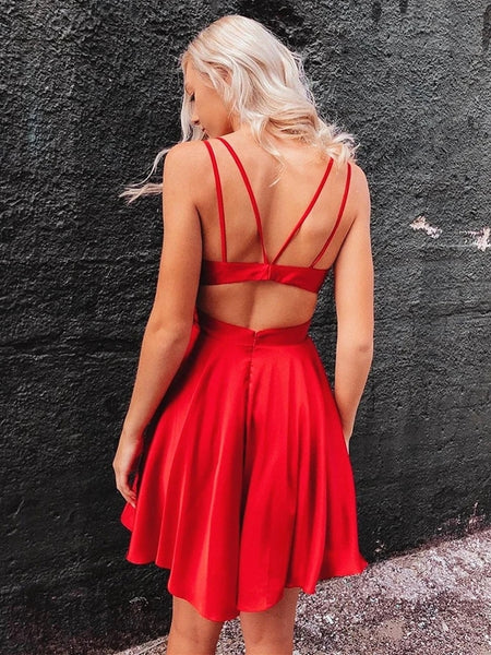 Cute V Neck Short Red Prom Dresses with Corset Back, V Neck Red Homecoming Dresses, Red Formal Evening Dresses