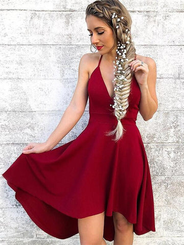 Cute A Line Halter Neck Burgundy Short Prom Dresses, Burgundy Homecoming Dresses