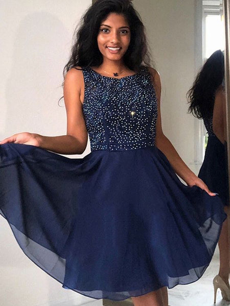 Cute A Line Round Neck Beaded Navy Blue Short Prom Dresses Homecoming Dresses, Navy Blue Formal Dresses, Graduation Dresses