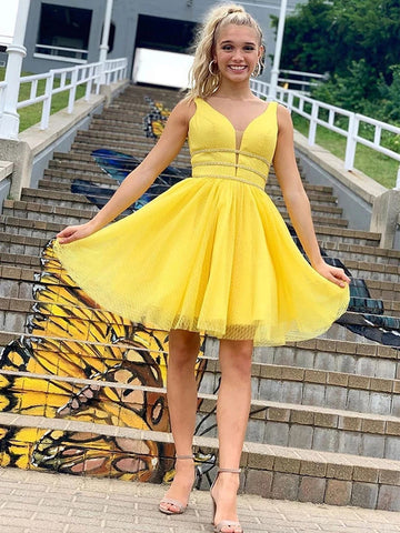 Cute A Line V Neck Yellow Short Prom Dresses Homecoming Dresses with Thin Belt, Yellow V Neck Formal Graduation Evening Dresses