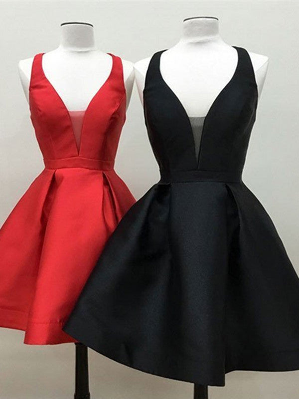 Cute Deep V Neck Black Dresses Red Homecoming Dresses, Sexy Black Prom Dresses